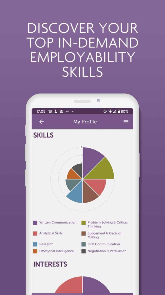 Image of iShine app skills profile page