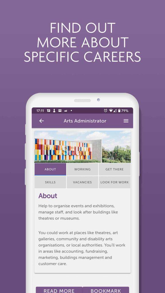 Image of iShine app - careers information page