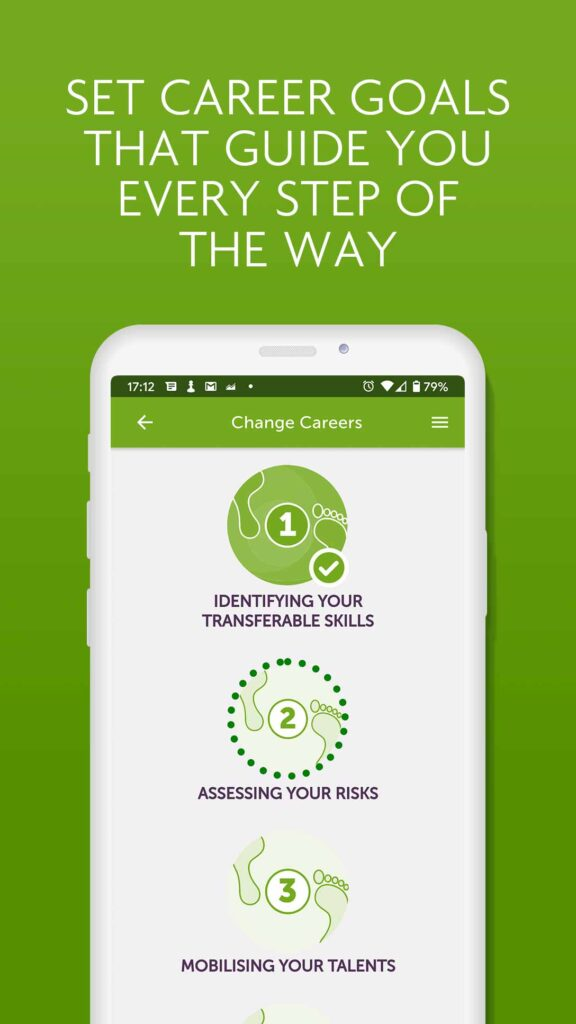 Image of iShine app - career goals page